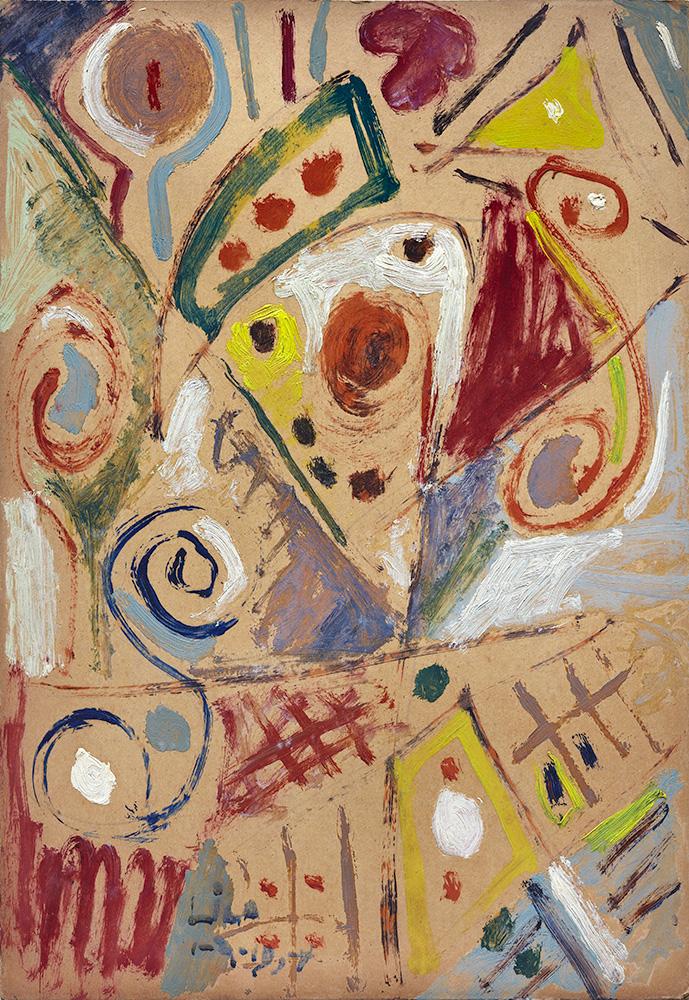 Juego con Líneas y Colores. Óleo sobre cartón, 50x35cm, 1-4-1954