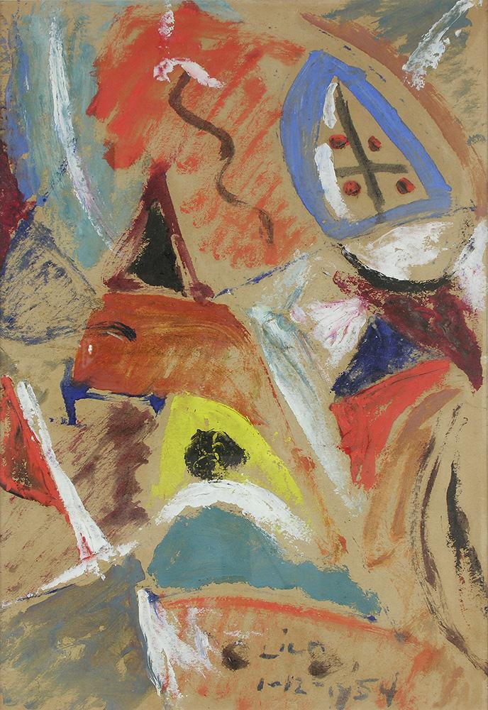 Juego con Líneas y Colores. Óleo sobre papel, 34,5×24,5cm, 1-12-1954