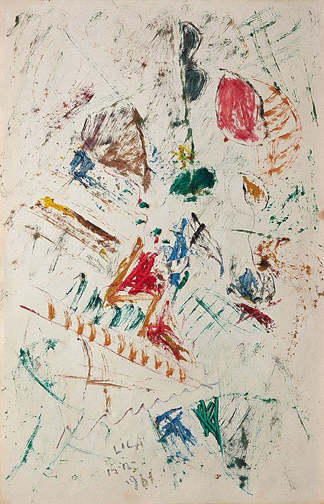 Juegos con Líneas y Colores. Óleo sobre papel, 35×22,3cm, 17-12-1961
