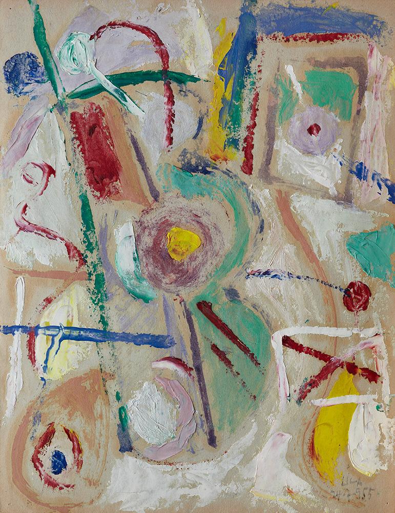 Juego con Líneas y Colores. Óleo sobre papel, 29,5x23cm, 24-7-1955