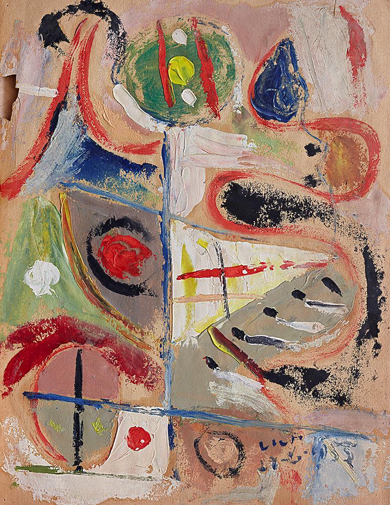 Juego con Líneas y Colores. Óleo sobre papel, 23×29,5cm, 27-6-1955