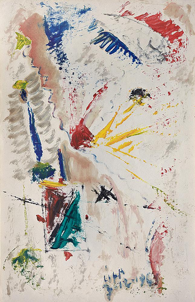 Juegos con Líneas y Colores. Óleo sobre papel, 35×22,3cm, 3-12-1961
