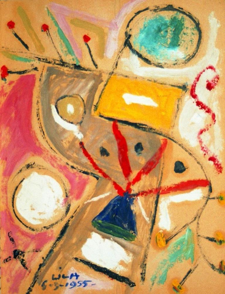 Juego con Líneas y Colores. Óleo sobre papel, 29,5x23cm, 6-9-1955