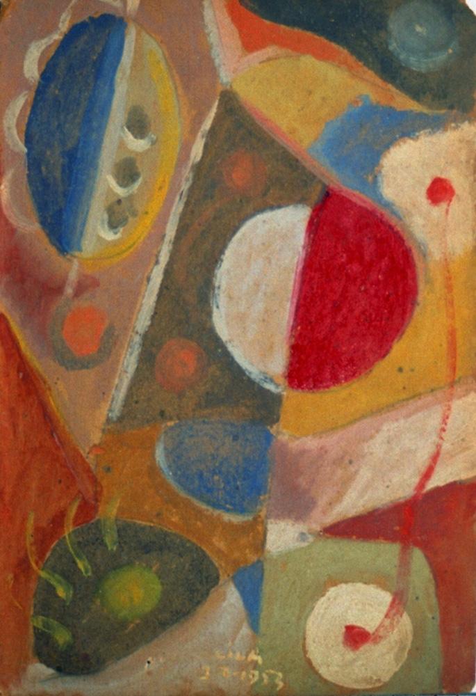 Composición, Óleo sobre cartón, 32 x 22 cm, 03-02-1953