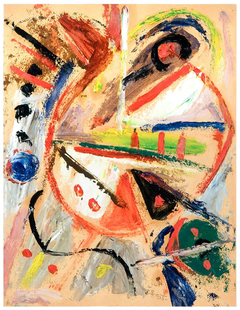 Juego con Líneas y Colores, Óleo sobre papel, 29.5 x 23 cm, 08-08-1955
