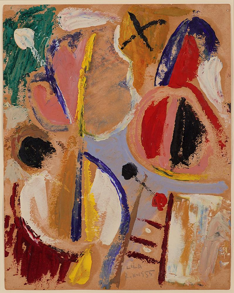 Juego con Línes y Colores, Óleo sobre papel, 29 x 23 cm, 07-11-1955