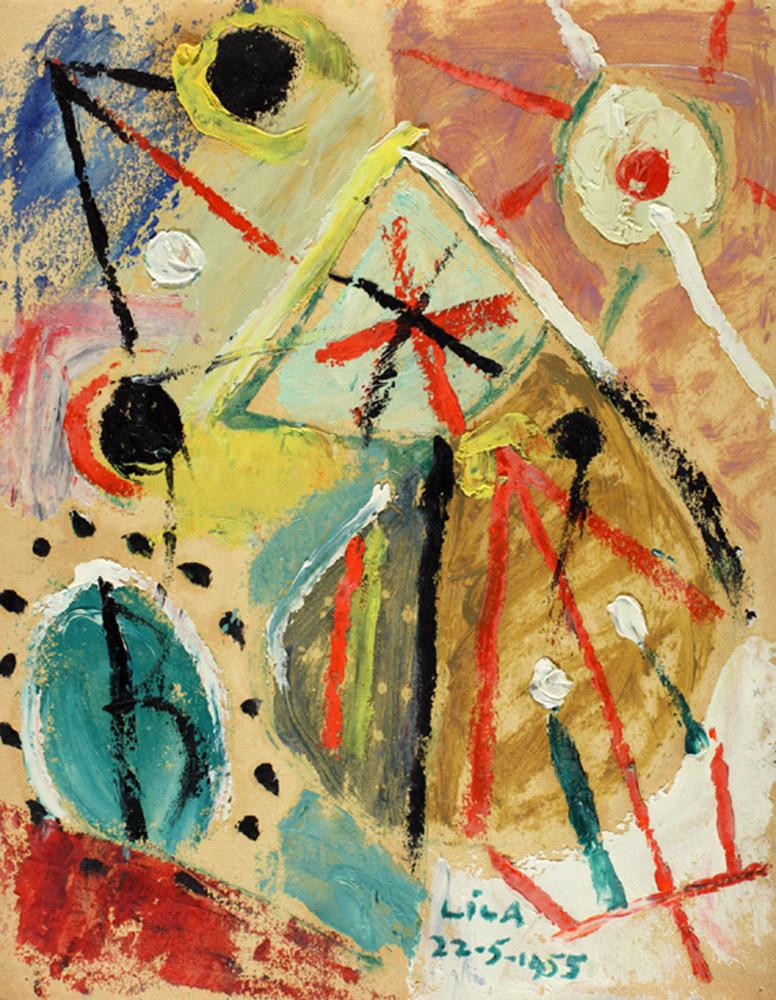 Juego con Líneas y Colores, Óleo sobre papel, 30 x 23 cm, 08-05-1955