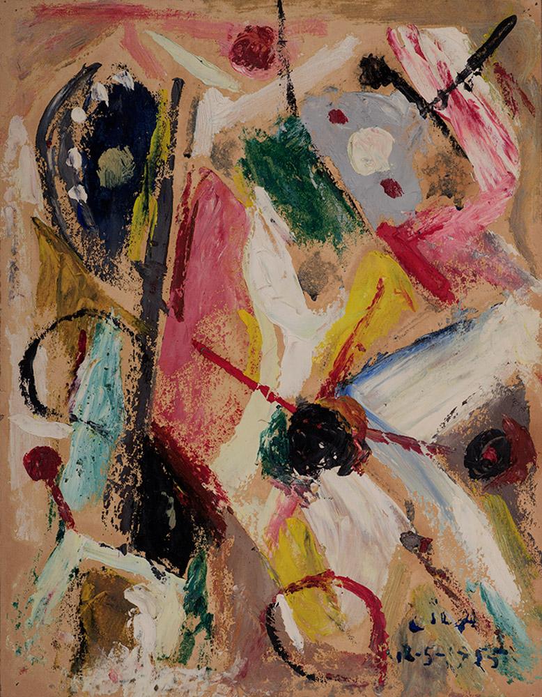 Juego con Líneas y Colores, Óleo sobre papel, 30 x 23 cm, 18-05-1955
