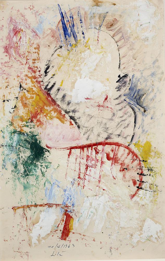 Juego con Líneas y Colores, Óleo sobre papel, 34.5 x 22,5 cm, 11-04-1963