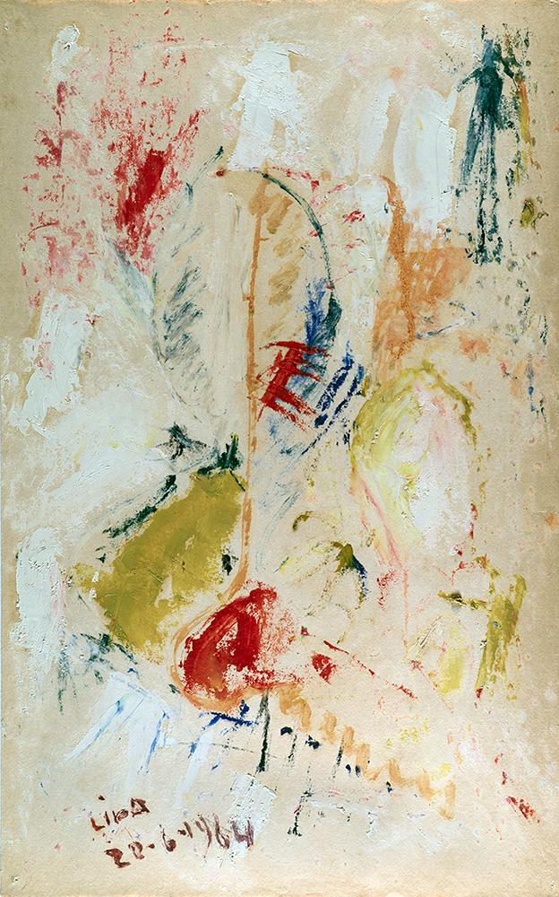 Juego con Líneas y Colores, Óleo sobre papel, 35 x 22, 22-06-1964
